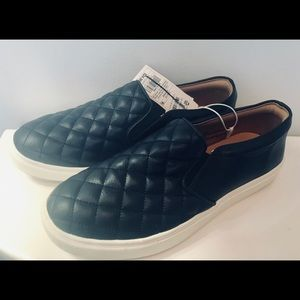 Black Vegan Leather Slip On Shoes